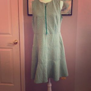 Green and white A Line Dress